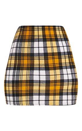 Yellow Check Print Mini Skirt | PrettyLittleThing USA
