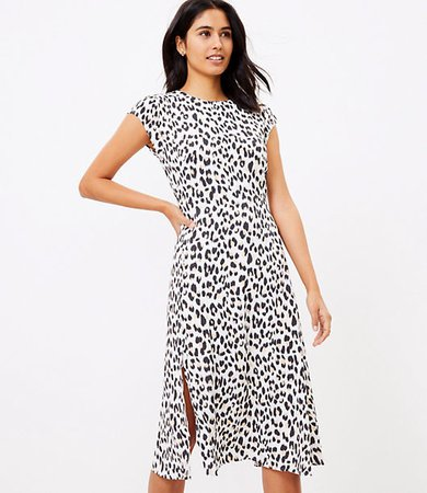 Petite Leopard Print Flutter Sleeve Midi Dress