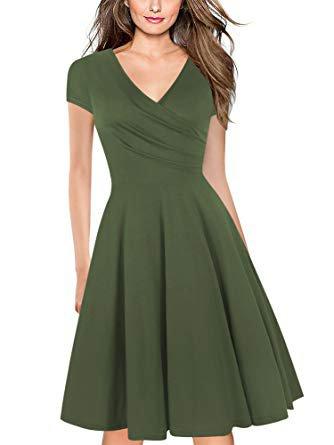 Green V-Neck ress