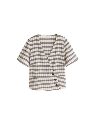 MANGO Checked print blouse