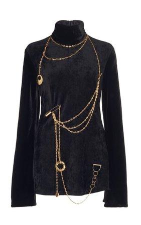 Chain-Embellished Corduroy Turtleneck Top By Ellery