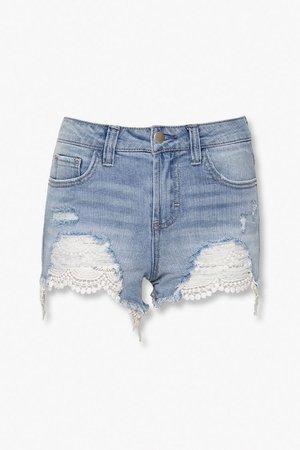 Crochet Lace Denim Shorts   Forever 21