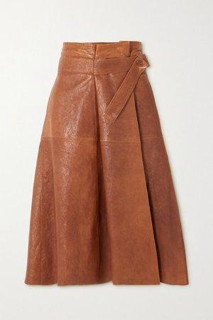 Leather Wrap Midi Skirt - Brown