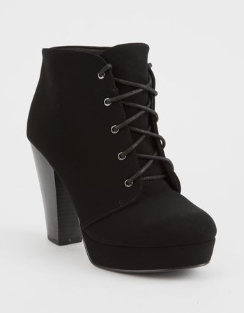 SODA Lace Up Black Womens Heeled Booties - BLACK - 336289100 | Tillys