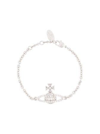 Silver Vivienne Westwood Mini Bas Relief logo bracelet - Farfetch