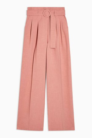 Pink Circle Belted Wide Leg Pants | Topshop