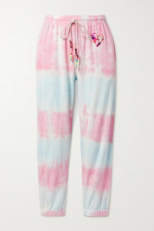 Santinella Bead-embellished Appliqued Tie-dyed Cotton-terry Track Pants - Pink