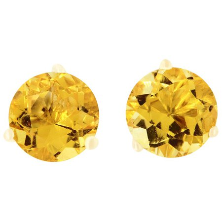 1.55 Carat Round Yellow Citrine Stud Earrings