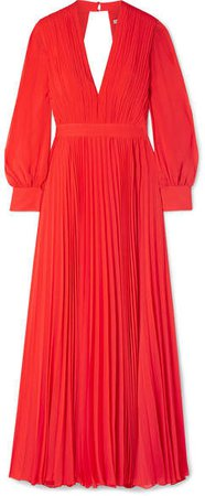 Alice Olivia - Cheney Cutout Pleated Georgette Maxi Dress - Red
