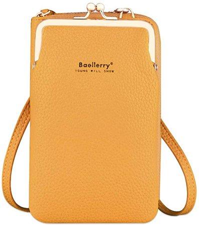 Small Crossbody Phone Bag Lightweight PU Leather Phone Purse for Women with Long Shoulder Strap Card Holder Kiss-Lock(Yellow): Handbags: Amazon.com