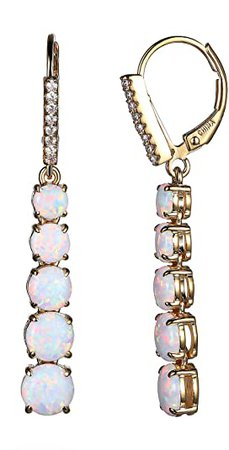 18k Yellow Gold Plated Sterling Silver Graduated Created Opal Dangle Leverback Earrings: Jewelry