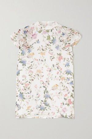 White Opal ruffled printed silk-voile blouse   Erdem   NET-A-PORTER
