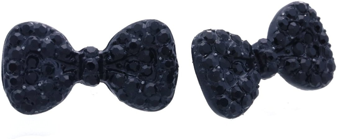 Amazon.com: Cute Lovely Ribbon Bow Tie Bowknot Stud Post Earrings Rhinestones Fashion Jewelry Charm (Black): Jewelry