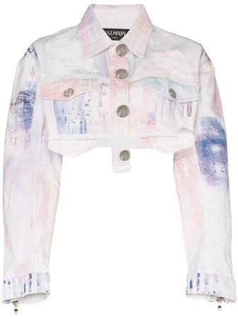 Balmain spray-paint Cropped Denim Jacket - Farfetch