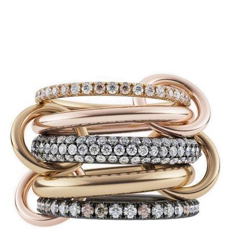 Leo Mix Diamond Linked Rings