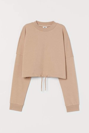Cropped Sports Top - Beige