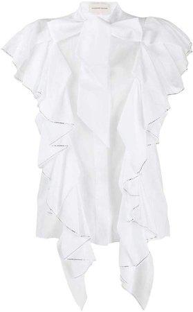 long sleeve ruffled blouse