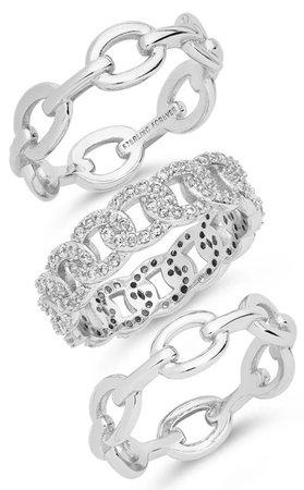 Silver Triple Ring Set