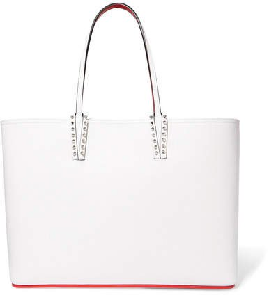 Cabata Spiked Textured-leather Tote - White
