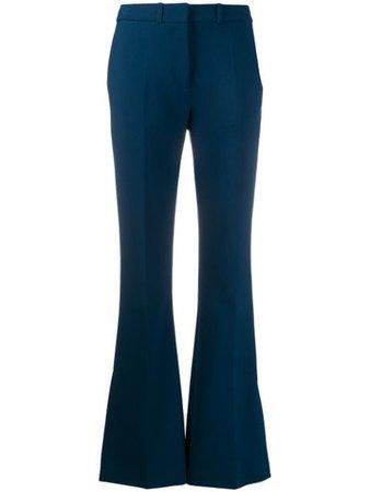 Victoria Victoria Beckham High-Rise Split-Hem Flared Trousers 2120WTR000431A Blue | Farfetch