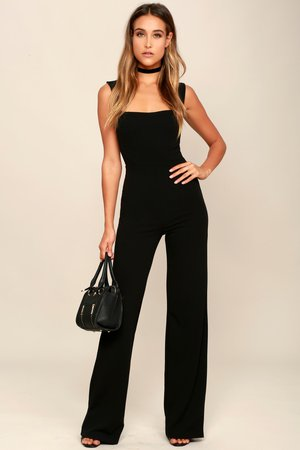Black Jumpsuit - Sleeveless Jumpsuit - Wide Leg Jumpsuit