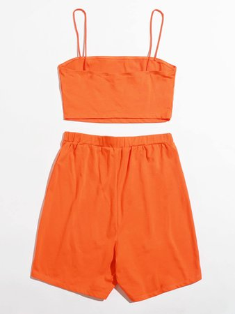 Orange Cami Crop Top & Biker Shorts