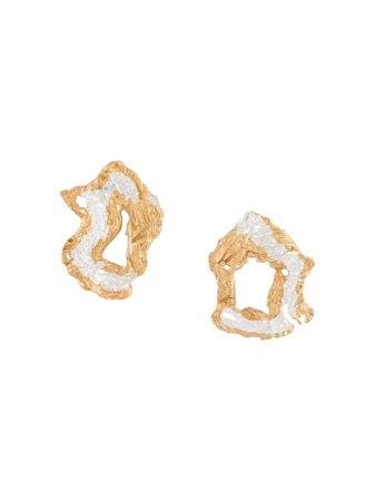 LOVENESS LEE Soleil Hammered Hoop Earrings - Farfetch