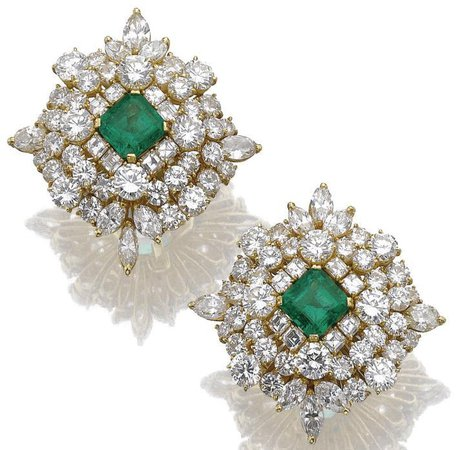 Pair of emerald and diamond ear clips Each of...