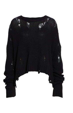 R13 Shredded Side Slit Wool Sweater | Nordstrom