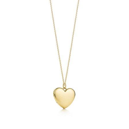 Heart locket pendant in 18k gold, large.   Tiffany & Co.