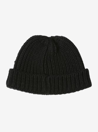*clipped by @luci-her* Black Knit Short Cap Watchman Beanie