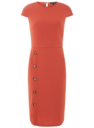 Red Horn Button Pencil Dress - View All Dresses - Dresses - Dorothy Perkins