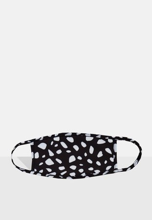 Black Dalmatian Print Double Layer Face Covering | Missguided