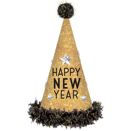 Glitter Gold Happy New Year Party Hat 6 1/2in x 18in | Party City Canada