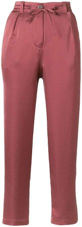 cropped tie waist trousers