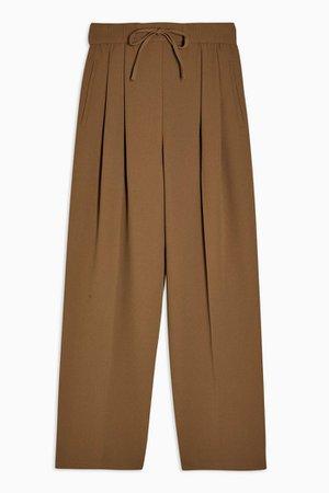 Khaki Crepe Tie Waist Joggers | Topshop