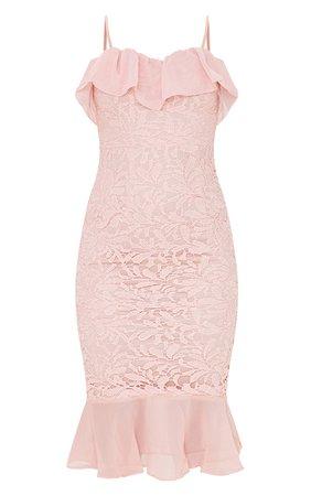 Dusty Pink Chiffon Frill Strappy Lace Midi Dress | PrettyLittleThing USA