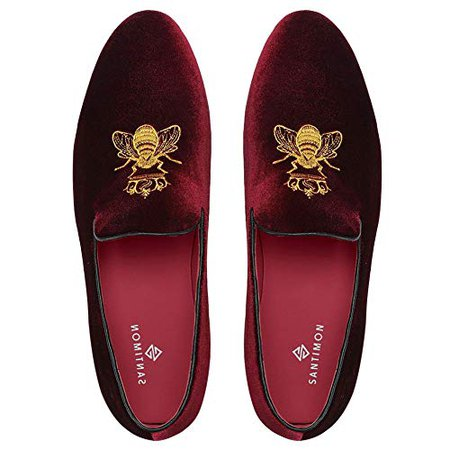 Amazon.com | SANTIMON Loafers for Men Velvet Slip on Dress Shoes with Gold Embroidery Smoking Slippers Flats Wine Red 9.5 D(M) US | Loafers & Slip-Ons