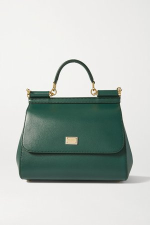 Sicily Medium Textured-leather Tote - Green