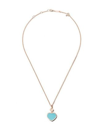 Chopard 18kt rose gold Happy Hearts turquoise stone and diamond pendant necklace