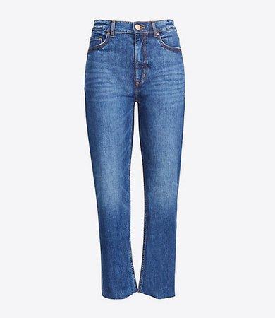 Petite Curvy High Rise Straight Crop Jeans in Authentic Dark Indigo Wash