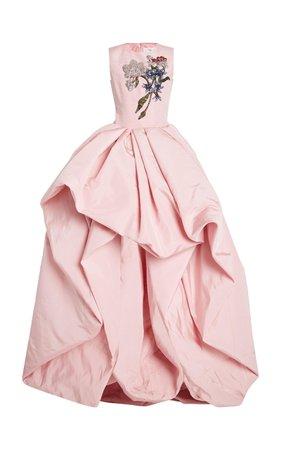 Oscar de la Renta, Pink Embellished Silk Gown