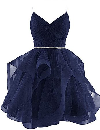 Amazon.com: XIA Women's Spaghetti Strap Homecoming Dresses Junior Tiered Tulle Glitter Short Prom Fomal Evening Cocktail Gowns Navy Blue: Clothing