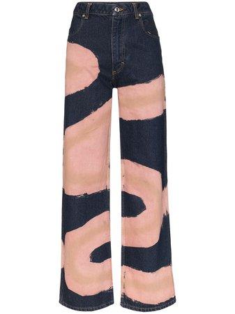 Eckhaus Latta Chemtrail Printed Wide Leg Jeans - Farfetch
