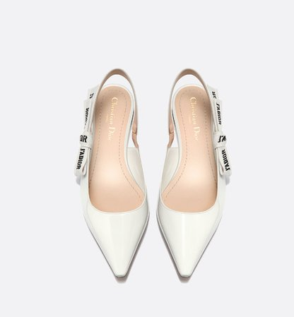 J'Adior ballet pump in white patent leather with J'Adior embroidered ribbon - Shoes - Woman   DIOR