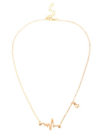 Heart Electrocardiogram Shaped Chain Necklace