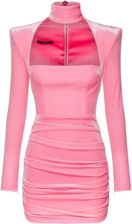 Alex Perry Ashton Ruched Velvet Mini Dress