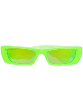 Green Gucci Eyewear rectangular frame tinted sunglasses - Farfetch