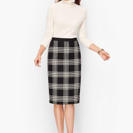 Plaid Sparkling Pencil Skirt
