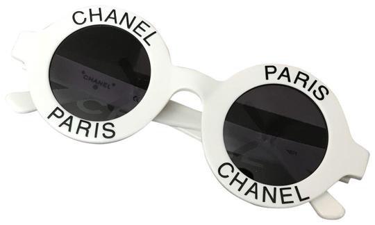 Chanel White Paris Rare Round Vintage Sunglasses - Tradesy